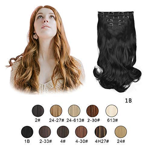 Barsdar 20'' Clips in Hair Extensions 4P11C Wavy Curly Hairpiece For Women lady Synthetic Heat Fiber Hair Extension (1B#)