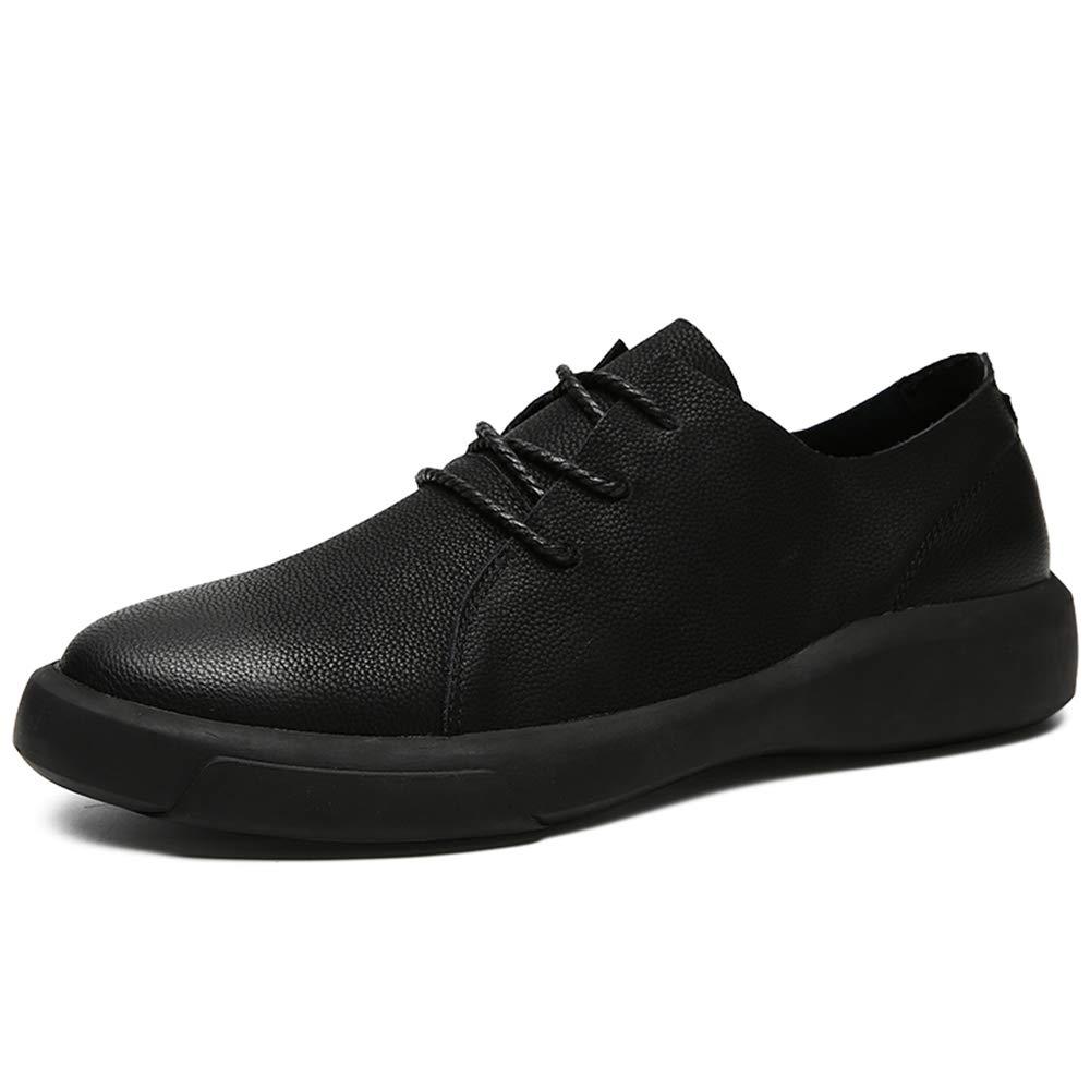 Hilotu Men's Modern Faux Leather Oxford Shoes Round Toe Lace Up Flat Brogues Formal Shoes (Color : Black, Size : 9 D(M) US)