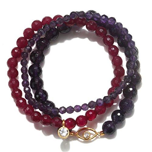 Satya Jewelry Women's Amethyst & Fuchsia Agate Gold Evil Eye Stretch Bracelet Set, Purple, One Size