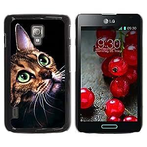PC/Aluminum Funda Carcasa protectora para LG Optimus L7 II P710 / L7X P714 Ocicat Savannah Serengeti Bengal Cat / JUSTGO PHONE PROTECTOR