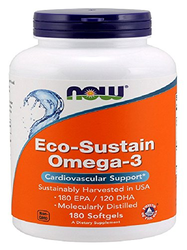 NOW Eco-Sustain Omega-3 , Molecularly Distilled,180 Softgels