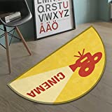 Movie Theater door mat indoors Projector Silhouette with Cinema Quote Movie Symbols Background Customize Bath Mat with Non Slip Backing Dark Coral Beige Yellow size:23.7''x15.8''