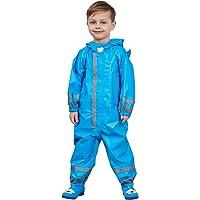 Zilee Kids Rainsuit Waterproof Raincoat Jumpsuit - Children Coverall Rainwear All-in-One Rain Jackets Reusable Rain Coat Slicker Windproof Hooded for Sports Camping Traveling Outdoors Park Boys Girls
