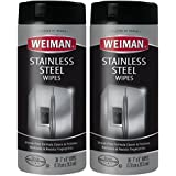 Weiman Stainless Steel Cleaning Wipes - Removes Fingerprints, Residue, Water Marks and Grease From Appliances - Works Great on Refrigerators, Dishwashers, Ovens, Grills and More - 30 Count (2 Pack)