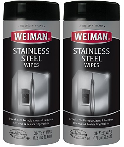 Weiman Stainless Steel Cleaning Wipes - Removes Fingerprints, Residue, Water Marks and Grease From Appliances - Works Great on Refrigerators, Dishwashers, Ovens, Grills and More - 30 Count (2 Pack) - Stainless Steel Sink Cleaner