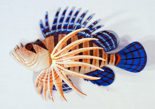 - Handpainted Tropical Lionfish Lion Fish Replica Wall Mount Decor Plaque 8