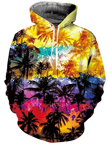 TUONROAD 3D Long Sleeve Hoodies Tshirt for Men Women Guys Tropical Colorful Coconut Palm Tree Black Orange Pink Athletic Volleyball Basketball Pullover Sweatshirts Fleece Plush Lining Big Pocket
