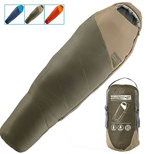 WINNER OUTFITTERS Mummy Sleeping Bag with Compression Sack, It's Portable and Lightweight for 3-4 Season Camping, Hiking, Traveling, Backpacking and Outdoor Activities (Gray, 32