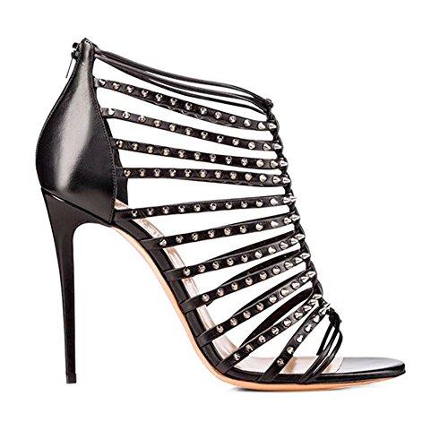 L@YC Tacones altos De Las Mujeres Remaches Con Zapatos De Boda Sandalias CóModas Black