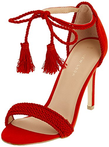 Look Bright Punta Red Scarpe New 60 col Donna Tostada Aperta Tacco Red RdX7q6w