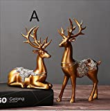 2PCS 1 pair New Style Resin Animal Lover Deer Figurines Home Miniature Handwork Classic Great Gifts TA112249 ( Color : A )