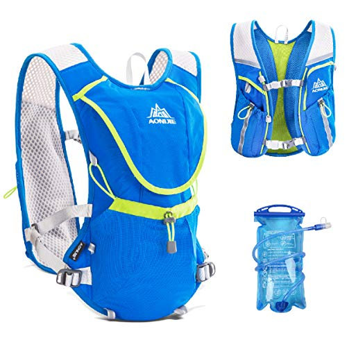 TRIWONDER Hydration Pack Backpack Professional 8L Outdoors Mochilas Trail Marathoner Running Race Cycling Hydration Vest (Blue - with 1.5L Water Bladder)