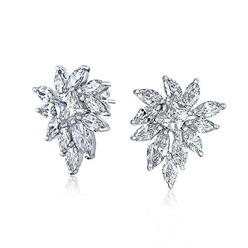 Bling Jewelry Marquise CZ Fleur Bridal collier boucles d'oreilles ensemble plaqué rhodium