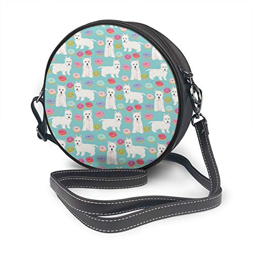 JimHappy Round Crossbody Bag, New Westie Donuts Terriers Handbag Purse Single Shoulder Bag