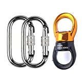 Suyi Safety Aluminum Alloy Triangular Rotational Device Hanging Climbing Swivel Hook Accessory 30KN 360 Degree Rope Swivel Connector for Climbing Hammock and Swing Setting With 2 Carabiner