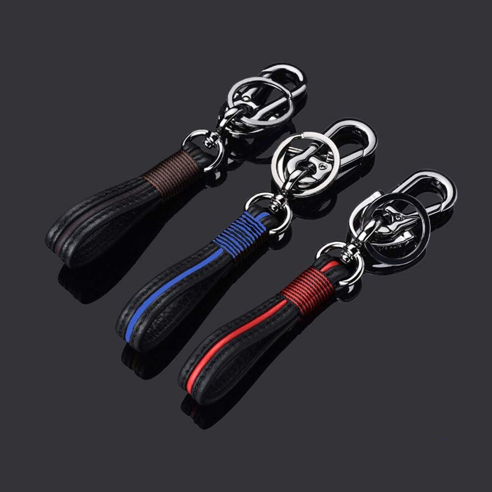 QIAOBA Car Key Chain,Handmade Premium Leather Valet Keychain Detachable with Car Key Loop Ring Car Key Fob Chain for Men Women Fit Honda Mercedes Benz BMW Ford Audi Nissan Jeep Cadillac Lexus Red