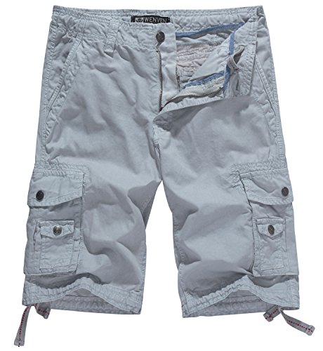 WenVen Men's Cotton Twill Cargo Shorts Outdoor Wear Lightweight(No.4 Light Grey,33)