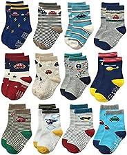 kit 12 pares de meia meninos cores variadas anti derrapante aprender a andar 12 a 24 meses