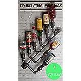 8x Industrial Wine Rack Bottle Wall Mount Holder Steampunk Black Pipe Bar Loft Decor