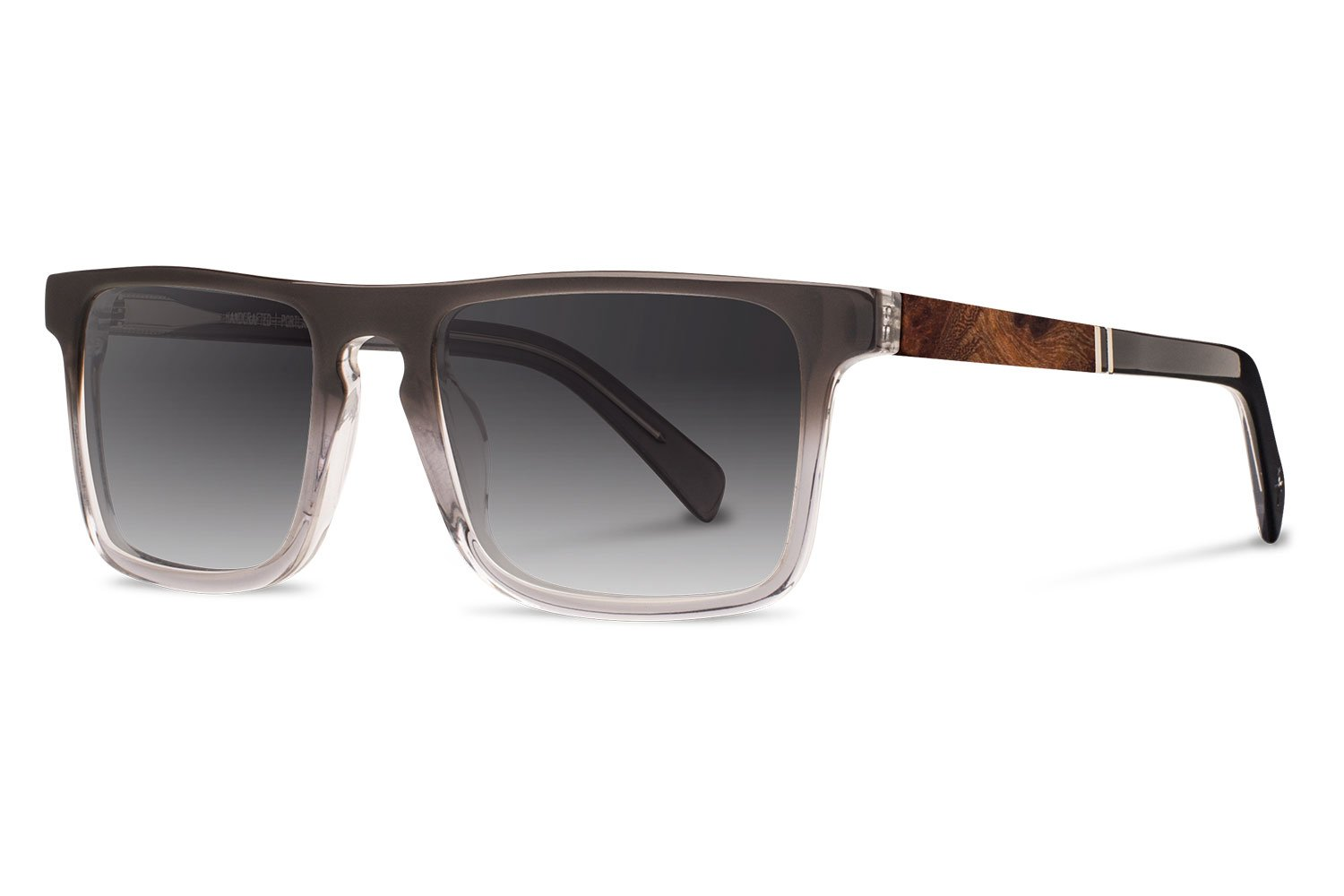 Shwood - Govy 2 Acetate, Sustainability Meets Style, Fog with Elm Burl Inlay, Grey Fade Polarized Lenses