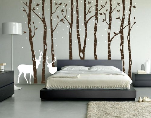 Innovative Stencils Birch Tree Wall Decal Forest with Snow Birds and Deer Vinyl Sticker Removable (9 Trees) #1161 (White Trees - Dark Gray Animals, 96'' (8ft) Tall) by Innovative Stencils (Image #3)