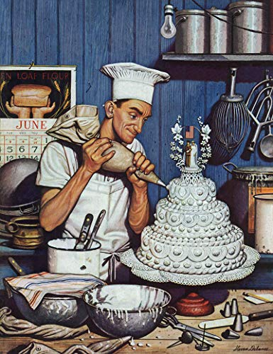(Marmont Hill 39x30 Icing The Wedding Cake by Stevan Dohanos Painting Print on Wrapped Canvas, 39