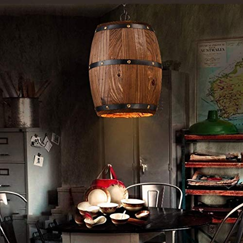 Alvnd Antique Wooden Barrel Wine Chandelier Wood Wooden Wine Barrel Shade Ceiling Light Fixture Pendant Retro Industrial French Country Vintage Antique Chandelier (Color : Natural) (Outdoor Barrel Chandelier Wine)