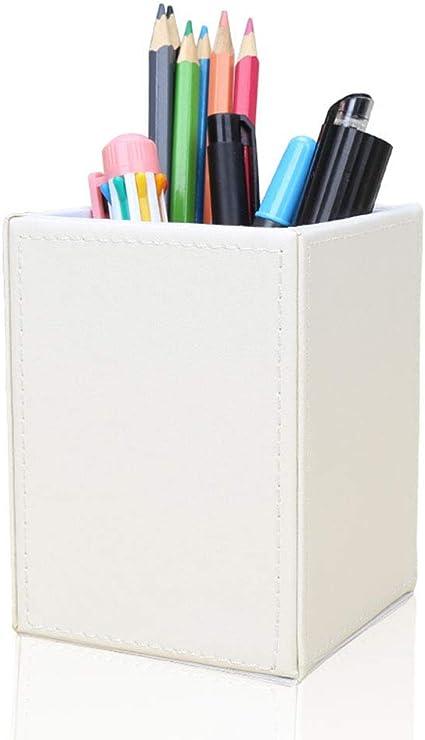 LiLan Piel Sintética Portalápices (Blanco): Amazon.es: Oficina y papelería