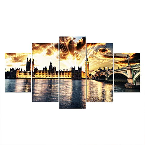 (SpringFlower Wall Sticker London Street lights Night Clouds Rays Premium Art Print Decoration Poster Design Modern Wall Mural Customized Product for Living Room, Wall Art Adhesive Material (E style))