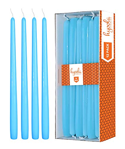 12 Pack Tall Taper Candles - 10 Inch Light Blue - Turquoise Dripless, Unscented Dinner Candle - Paraffin Wax with Cotton Wicks - 8 Hour Burn Time