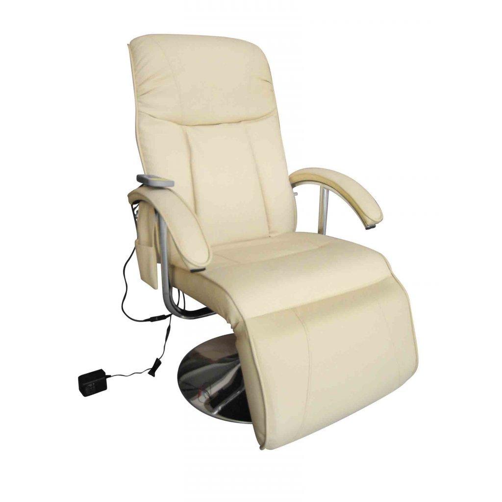 Festnight Poltrona relax massaggiante reclinabile elettrica bianco crema da soggiorno