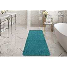 """Ottomanson Luxury Collection Blue Runner Rug with Non-Slip/Rubber-Backing Bath Rug, 20"""" X 59"""", Turquoise"""