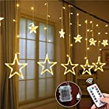 indoor icicle lights led - Weepong Star Curtain Lights, 3xAA Batteries/USB Operated Window Curtain Lights with Remote 12 Star 138 LED Icicle Lights String, Fairy Star Lights for Bedroom Wall Party Wedding Christmas (8 Modes)
