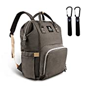 Hafmall Diaper Bag Backpack Waterproof Large Capacity Insulation Travel Back Pack Nappy Bags Organizer, Multi-Function, Fashion and Durable (Gray)