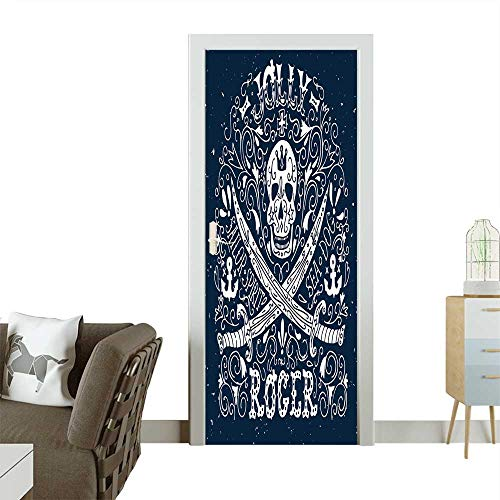 Door Art Sticker Jolly Roger Hand Drawn Vintage Label with a Pirat Skull and Two Swords. Room Decoration W31 x H79 INCH