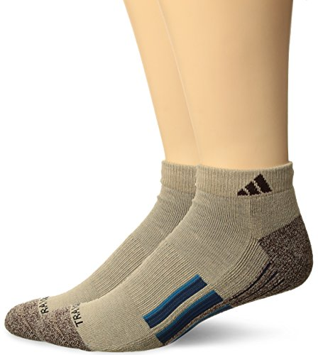 adidas Mens Climalite X II Low Cut Socks (2-Pack), Khaki/Chocolate Marl/Blue Night/Mystery Petrol Green, Large
