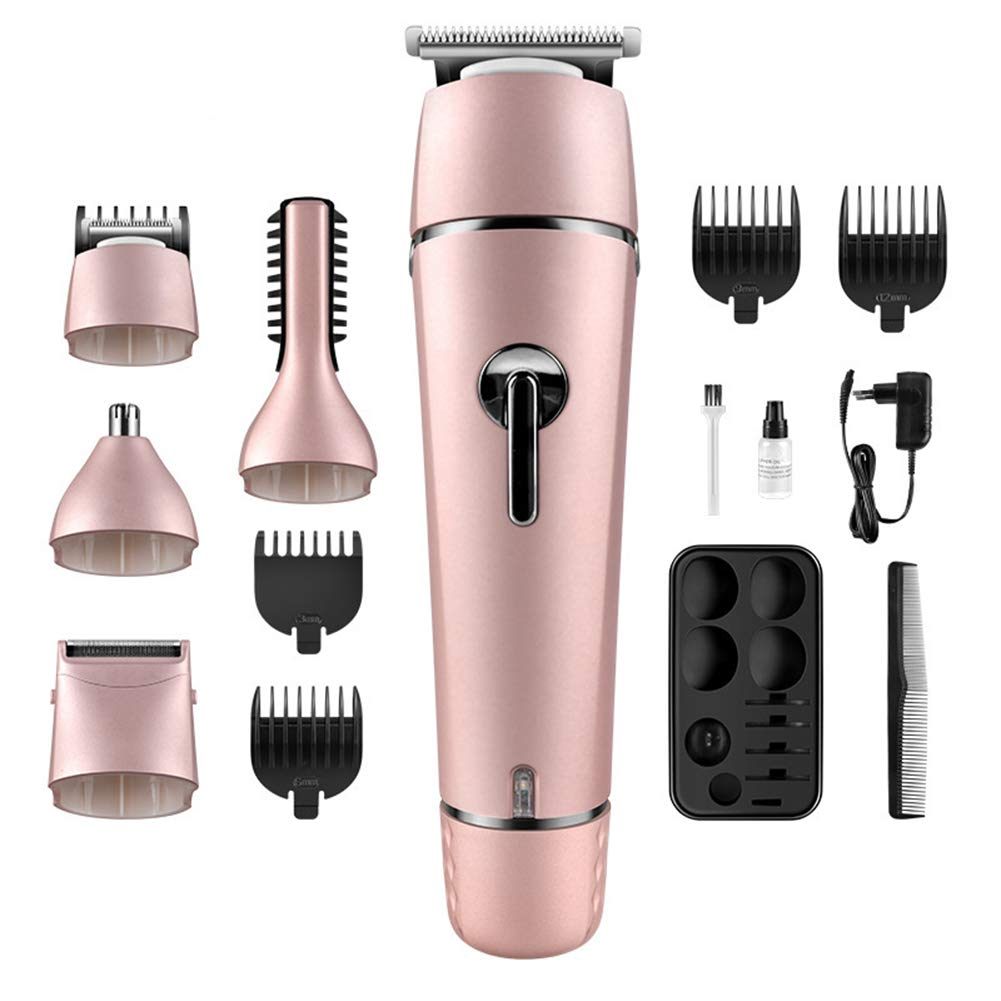 Julitech 5 in 1 Multifunctional Rechargeable Electric Hair Trimmer Grooming Kit Nose Ear Beard Clipper Mustache Trimmers Shaver Suit Hair Cutter Men Women,Pink by Julitech