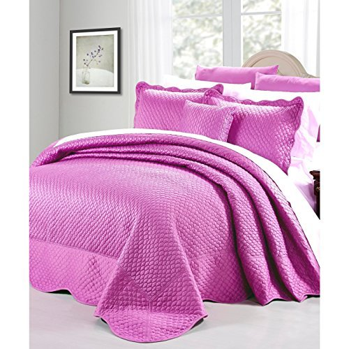 Serenta Matte Satin 4 Piece Bedspread Set, King, Purple/Pink by Home Soft Things