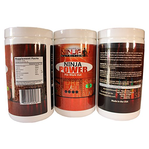NINJA POWER, Pre-workout, Amazing Energy, Crush your workouts. No Sugar, No Carbs, Endorsed by Geoff Britten (The First Ever American Ninja Warrior).