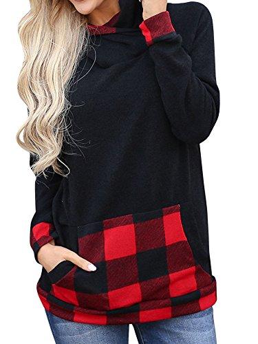 Umeko Womens Sweatshirts Buffalo Plaid Long Sleeve Shirt Pullover Hoodie Tunic Tops Hooded Sweatshirt Buffalo Plaid Tunic Top
