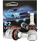 VoRock8 R2 COB 9004 HB1 8000 Lumens Led Headlight Conversion Kit, High Low Beam Headlamp, Dual Beam Head Light, Halogen Head Light Replacement, 6500K Xenon White, 1 Pair, 1 Year Warranty