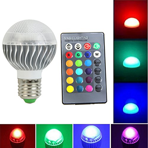 LED Color Changing Light Bulb Dimmable with Remote Control,LIYUDL 15W E27 Energy Saving Lamp for Parties Christmas Halloween -