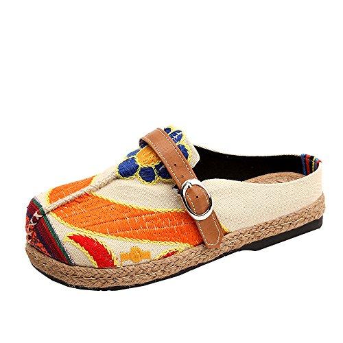 Casa Estar Libre Mujeres Verano Chancletas Chanclas Bordados por Zapatos Coloridos Aire Sandalias Beige Al Mujeres De Zapatillas Y Playa para Mules Sandalias De Winwintom Ocio xf6vx