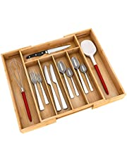 Kitchen Utensil Silverware Drawer Organizer - Bamboo Flatware Cutlery Tray with 5 Compartment and 2 Expandable Dividers for ALL SIZE Forks Knives and Spoons