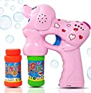 Haktoys Pink Puppy Bubble Shooter Gun | Ready to Play Light Up Blower with LED Flashing Lights, Extra Refill Bottle, Dog Bubble Blaster Toy for Toddlers, Kids, Parties (Sound-Free, Batteries Included)