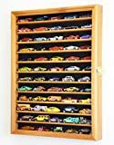 Hot Wheels Matchbox 1/64 scale Diecast Model Display Case Cabinet Wall Rack w/UV Protection -Oak
