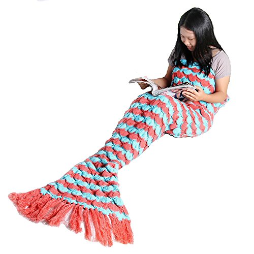 Mermaid Tail Blanket, NOT HOME Warm and Soft Mermaid Scale Tassel Blanket, Knitted Blankie Tails, All Seasons Cozy Sleeping Bags for Kids and Adults(7…