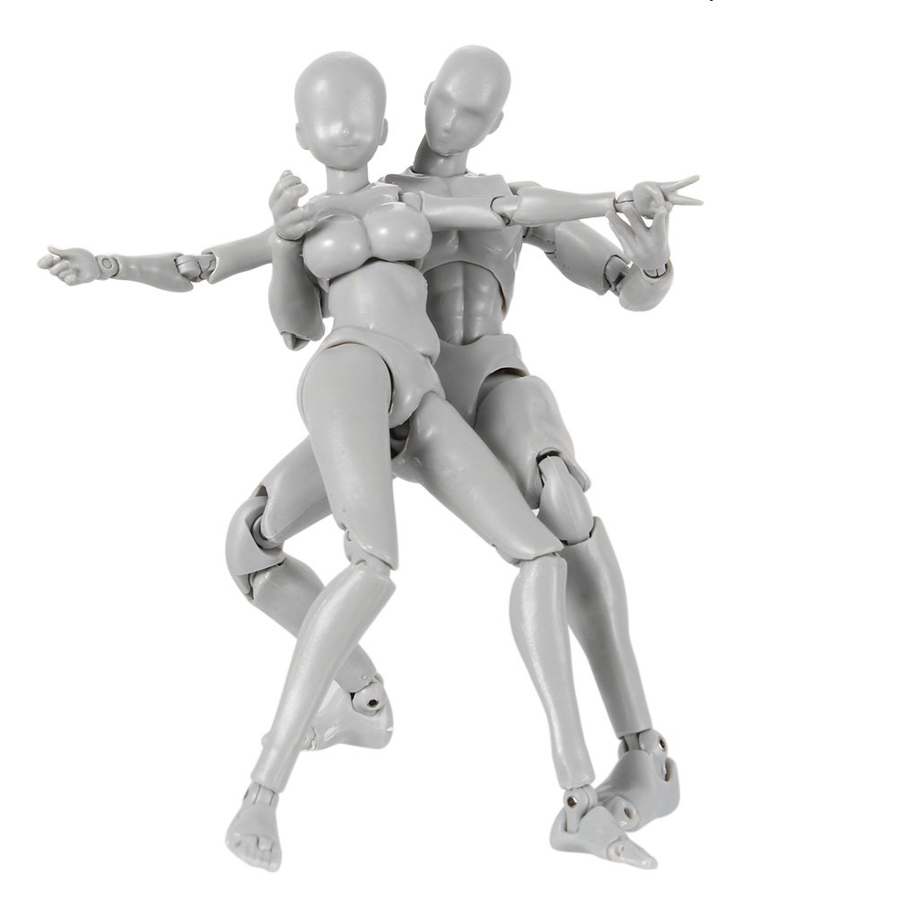 Tulas Action Figure Drawing Models, Man & Women Mannequin Body Kun Doll Body-Chan Male/Female Action Figure DX Set with Accessories Kit, Suitable for Sketching, Painting, Drawing, Artist.