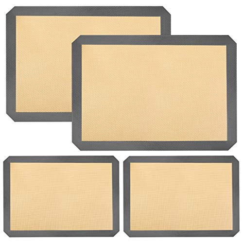 Silicone Baking Mats for Half Baking Sheet Pans Non-Stick Macaron Baking Mats Set,Cookies/Pastry/Bun/Bread Making Mat Thick Rolling Dough Mat Baking Supplies Kitchen Tools(2X8.5x11.5'',2X11.6x16.5'')