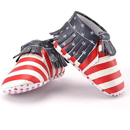 Fulltime® Bébé fond mou Chaussures Glands Stripe Toddler First Walkers Chaussures
